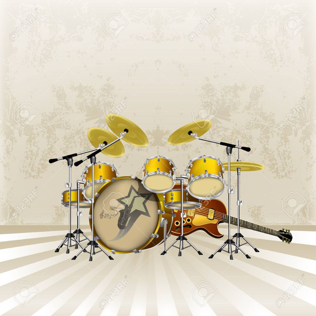 Vector Illustration Of A Music Background Jazz Guitar And Drum ...