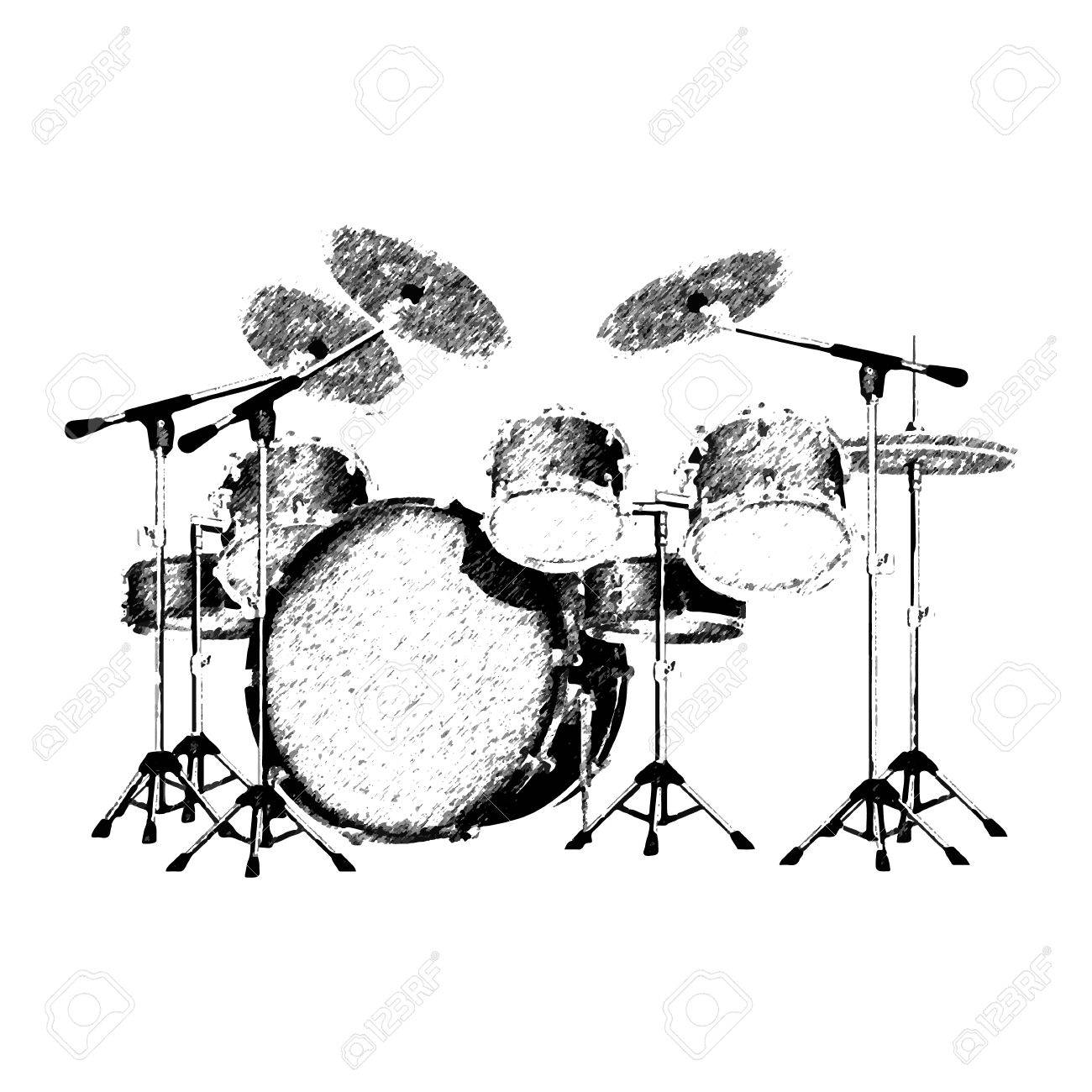 Vector Illustration Of A Drum Set Drawing Strokes Isolated Object Can Be Used With Any