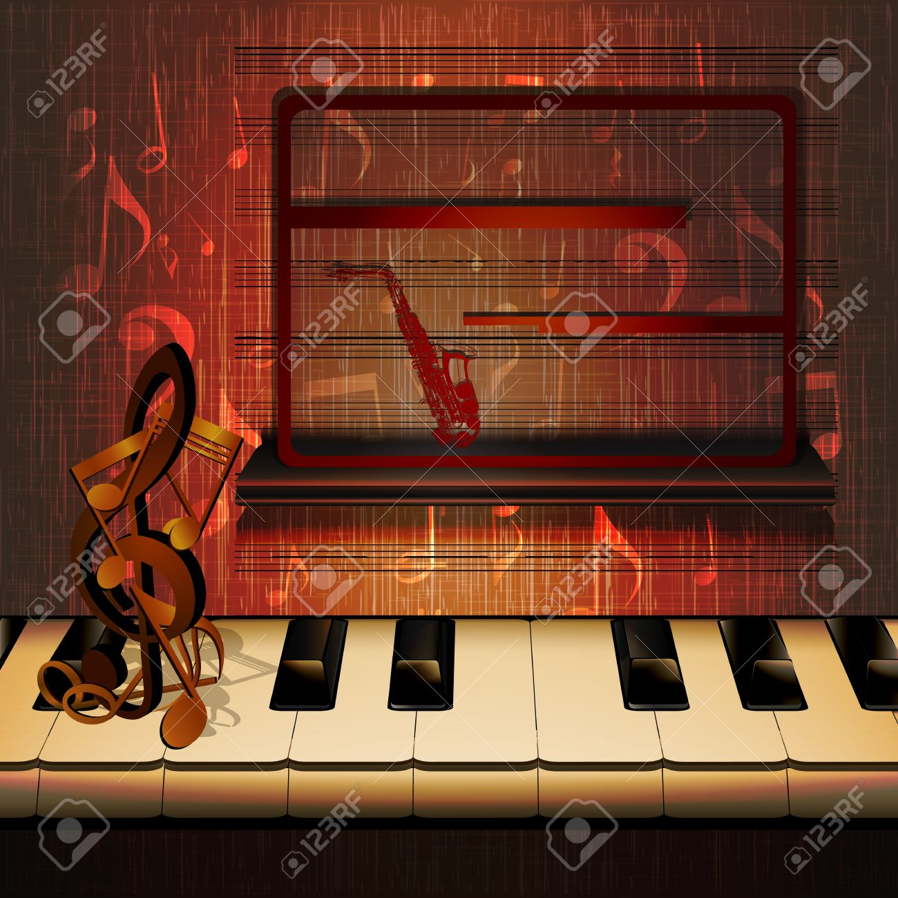 Vector Musical Background Piano Keys Close Up With Signs