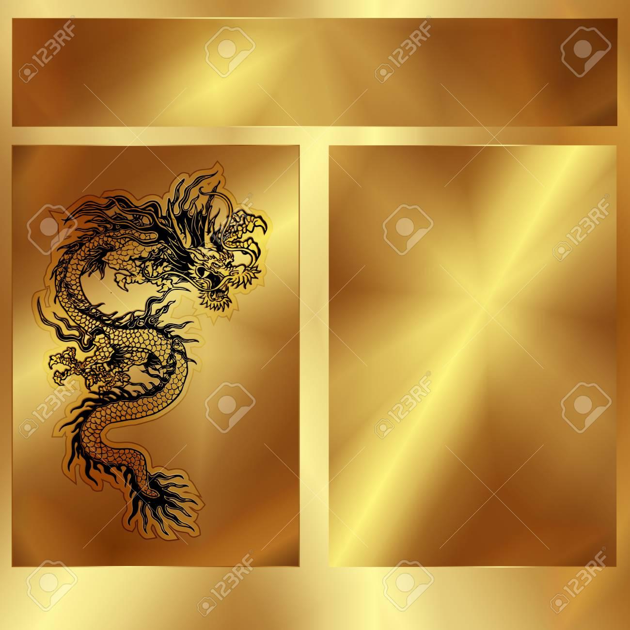 Vektor Goldrahmen Mit Einem Chinesischen Drachen, Gibt Es Einen ...