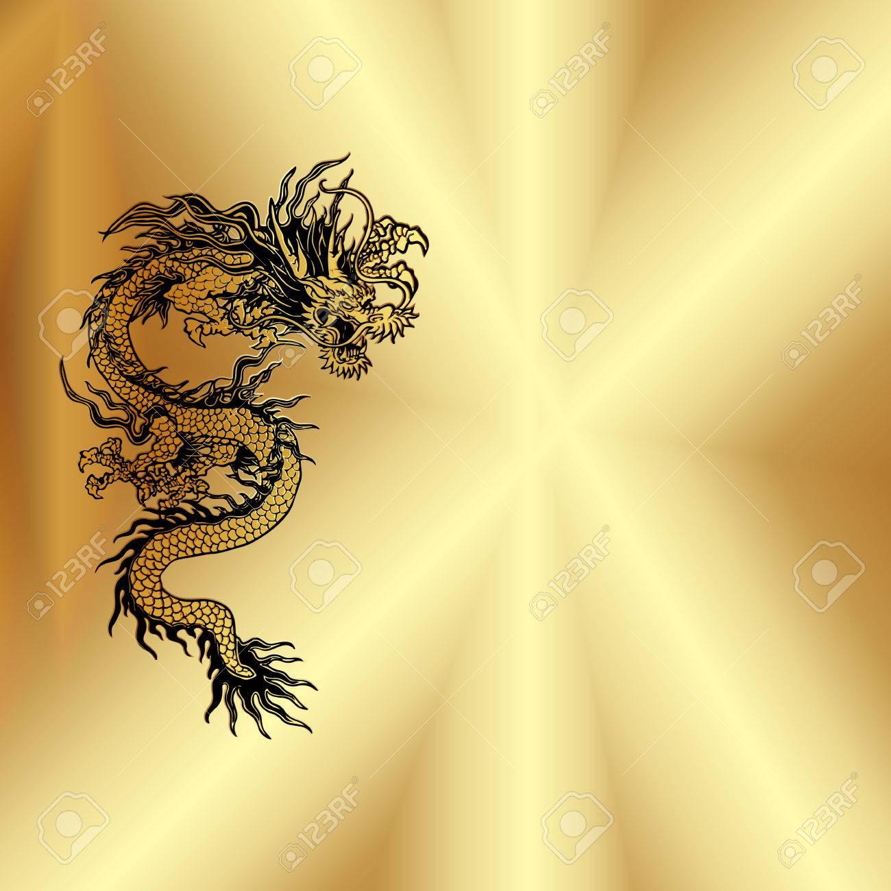 Vector Gold Hintergrund Platte Mit Einem Chinesischen Drachen, Gibt ...