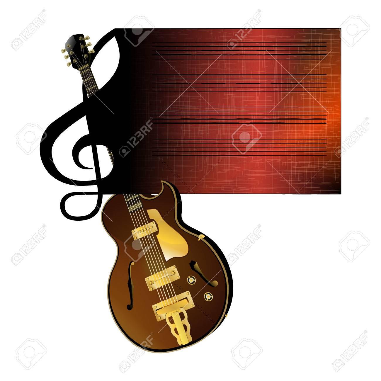 Ilustración Vectorial De Una Clave De Sol A Evitar Que Circula Por La Guitarra De Jazz Objeto Aislado En Un Fondo Blanco Se Puede Utilizar Con