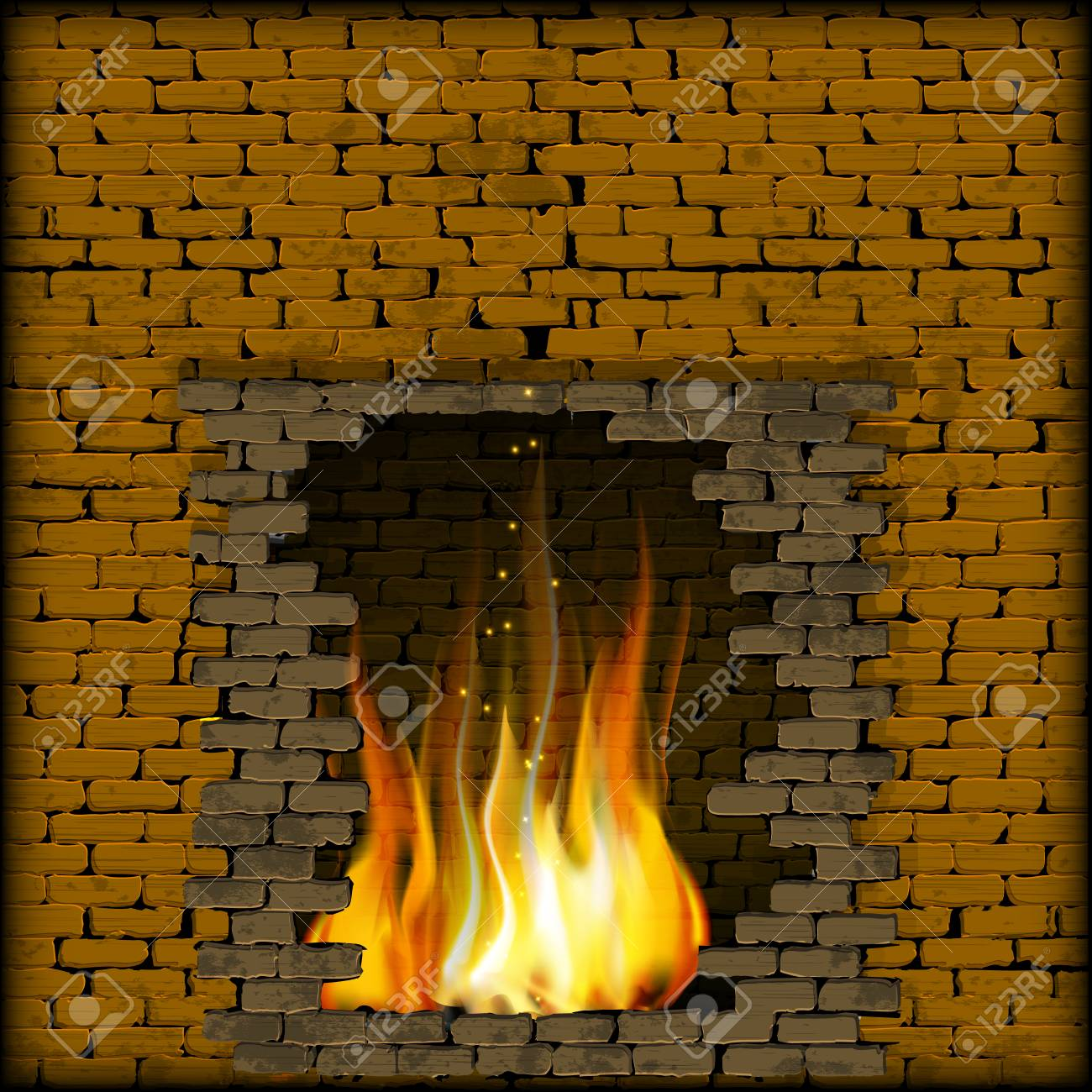 Vector Illustration Fire In The Fireplace Of The Old Brick Wall