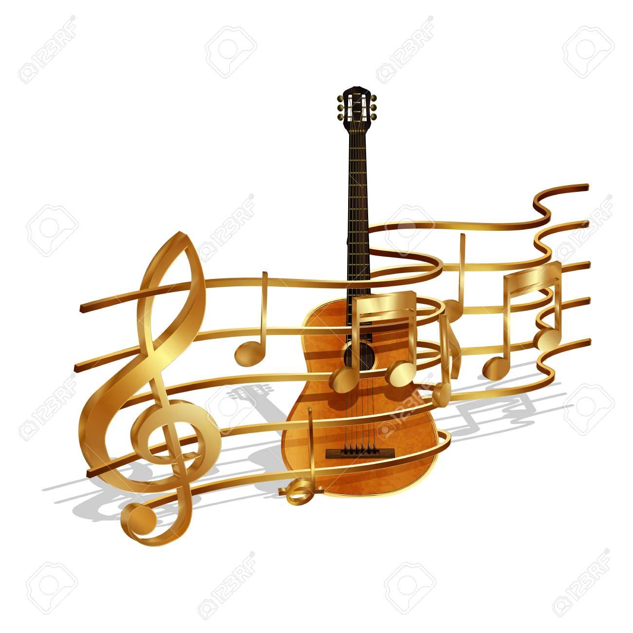 Ilustración Del Vector Del Volumen De Las Notas Musicales De Oro Y Clave De Sol En El Pentagrama Y La Guitarra Acústica Objetos Aislados Sobre Un