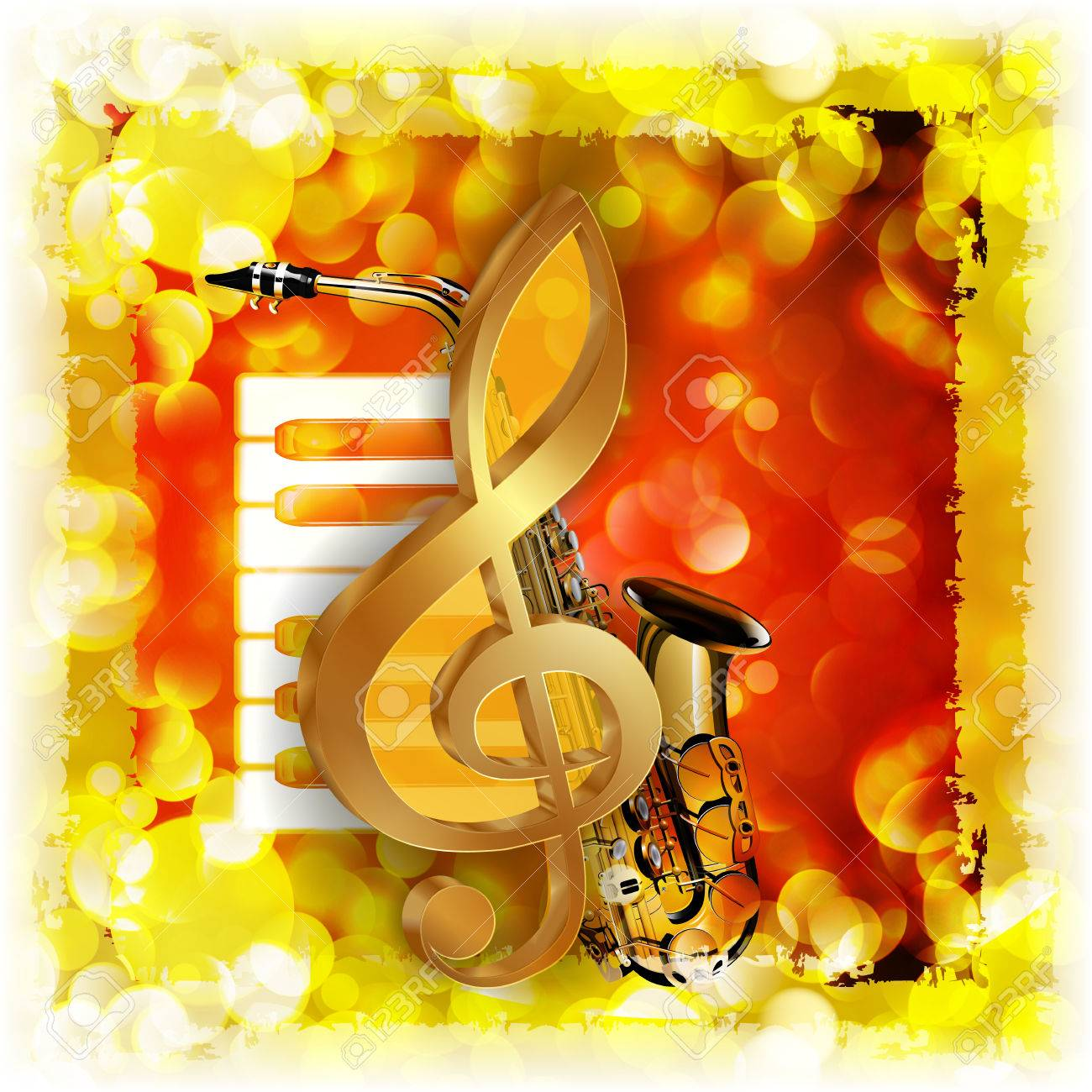 Vector Illustration Of Musical Background Treble Clef And A ...