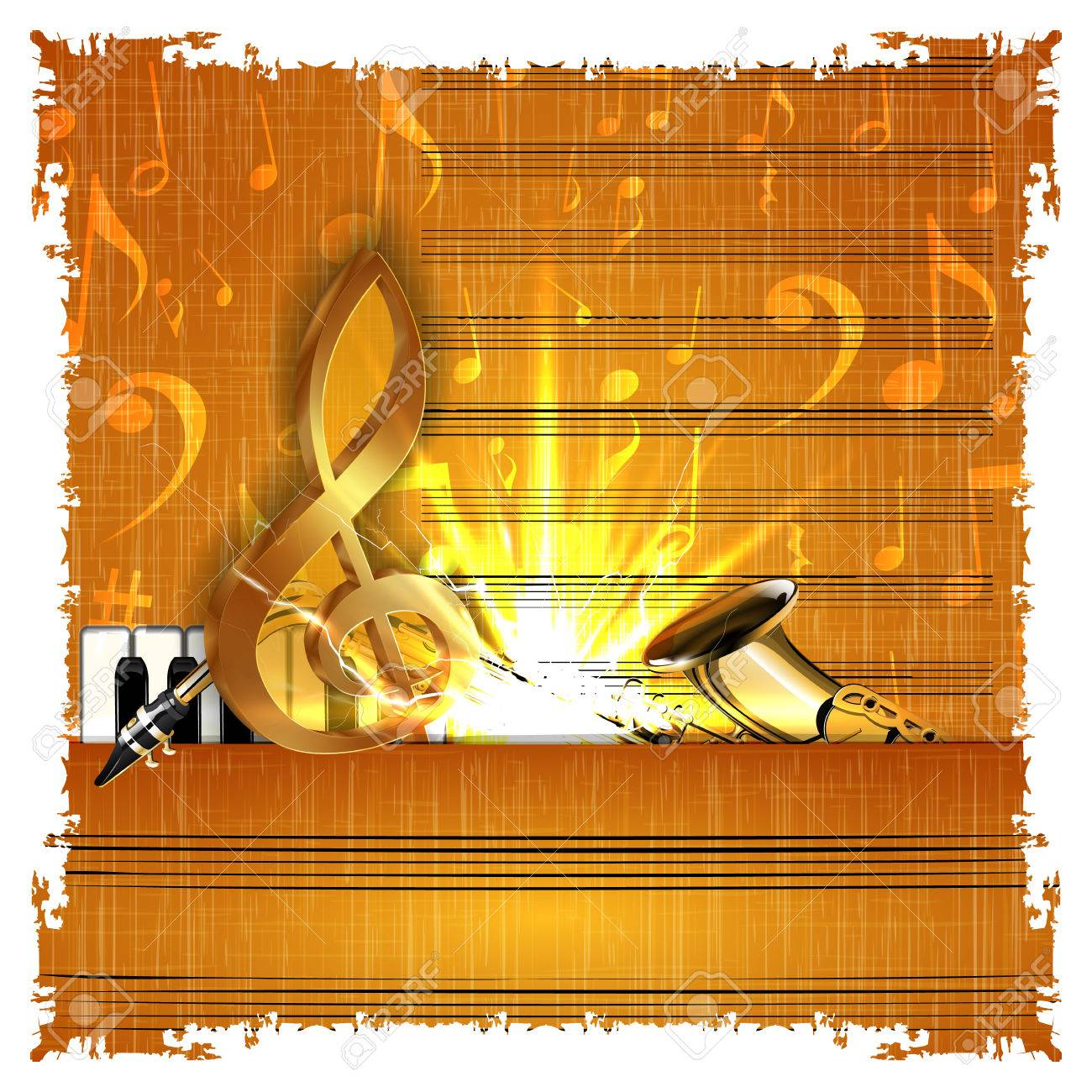 Music Background With A Gold Treble Clef Piano And Saxophone ...