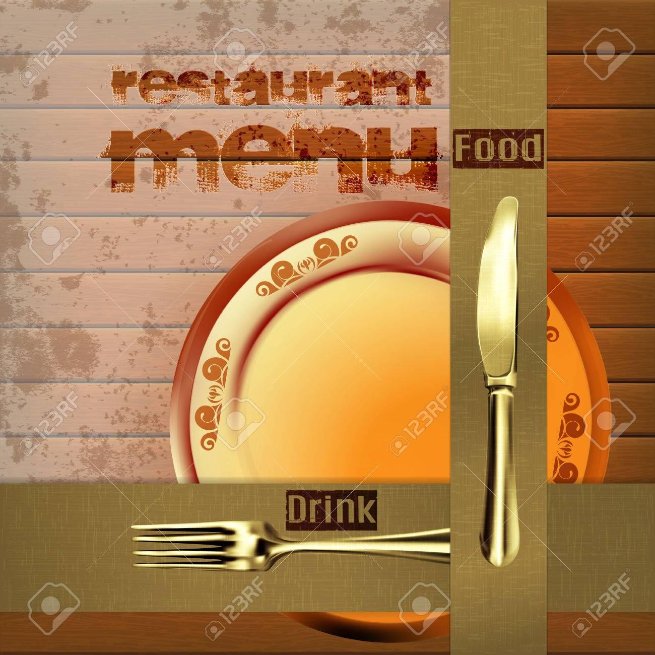 Vorlage Restaurant-Menü Umfasst Auf Dem Hölzernen Hintergrund Mit ...