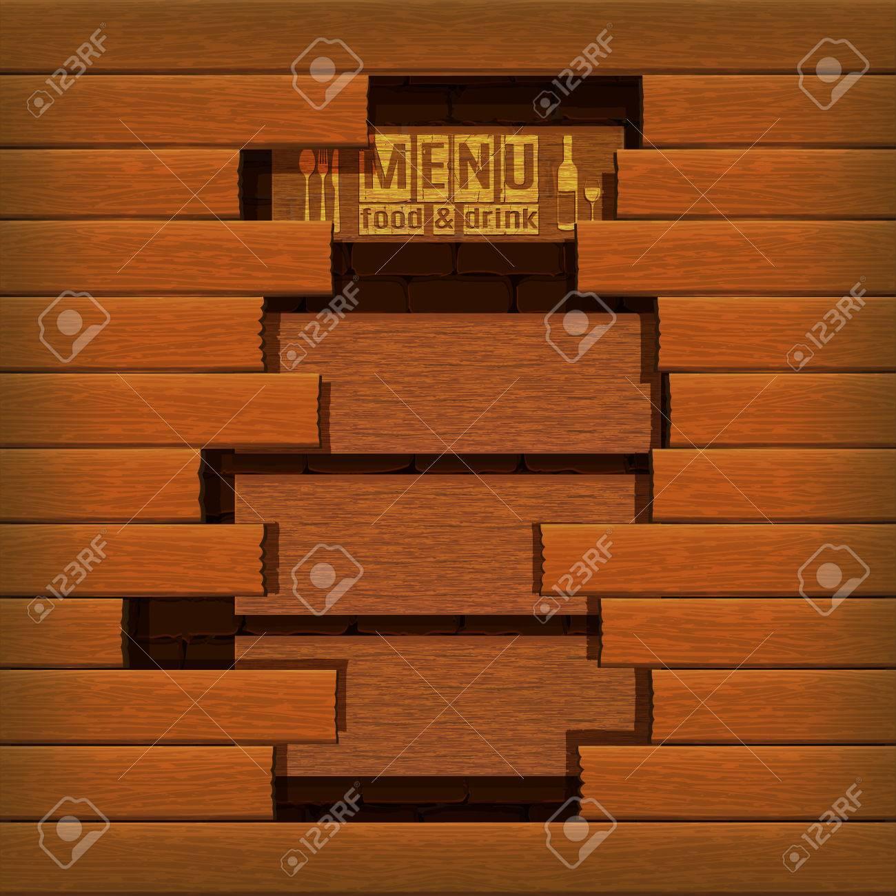 Vorlage Restaurant-Menü Umfasst Holzplanken Mauer Im Hintergrund ...
