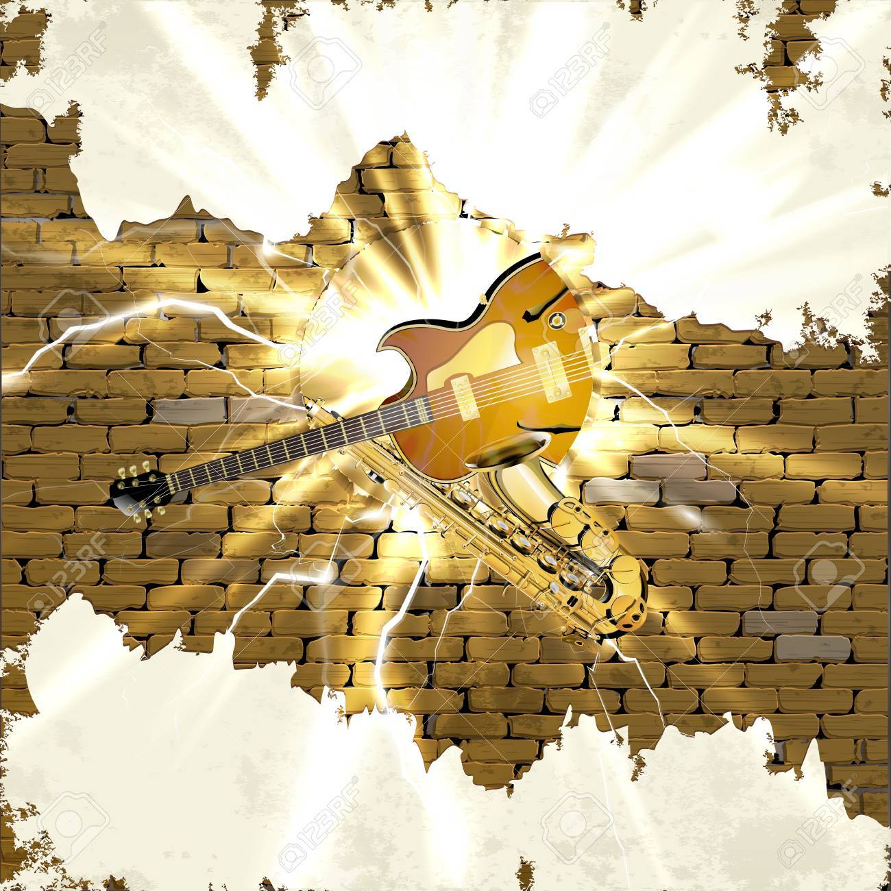 Musical Background Saxophone And Jazz Guitar In The Old Brick ...