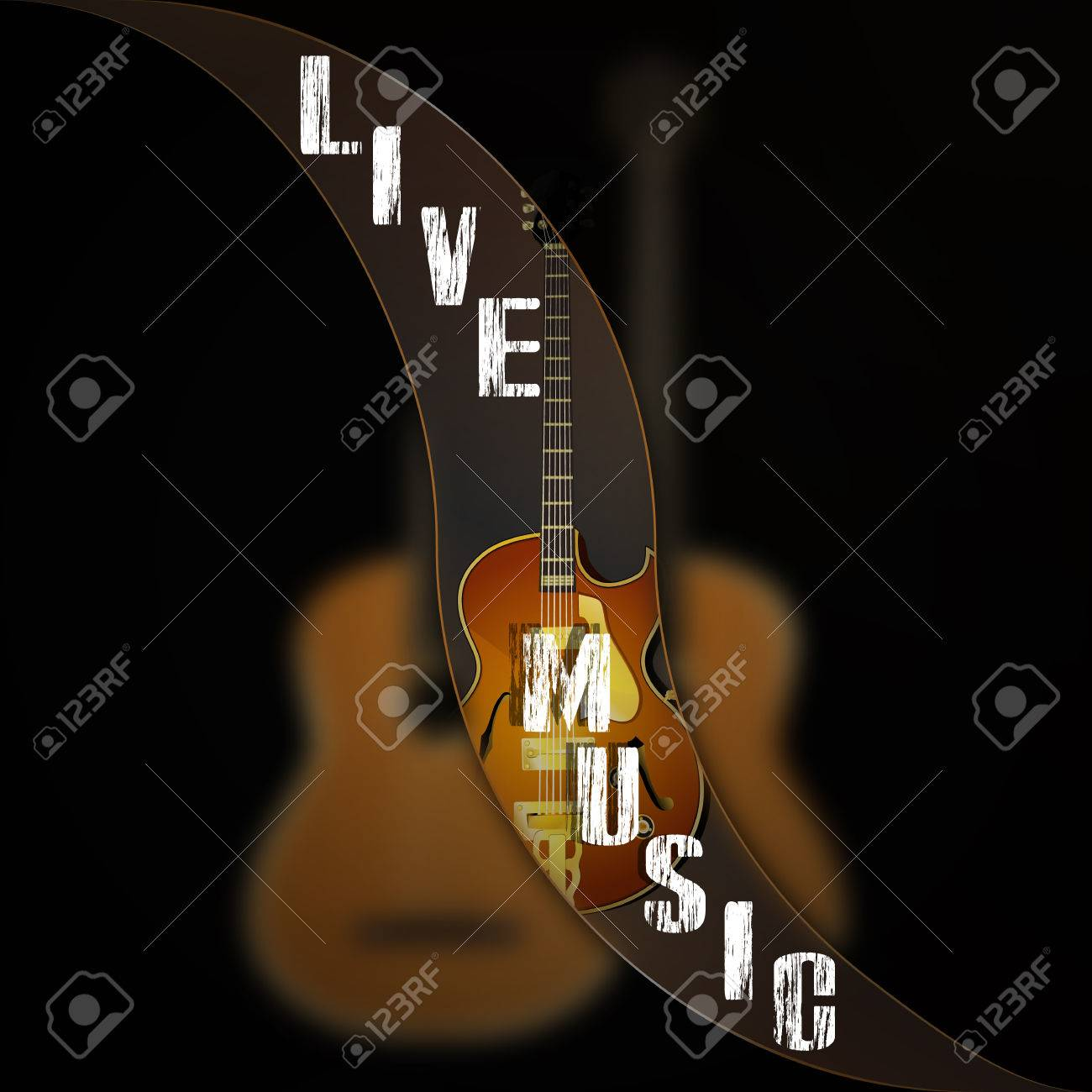 Background With Inscription Live Music Jazz Guitar Acoustic Guitar