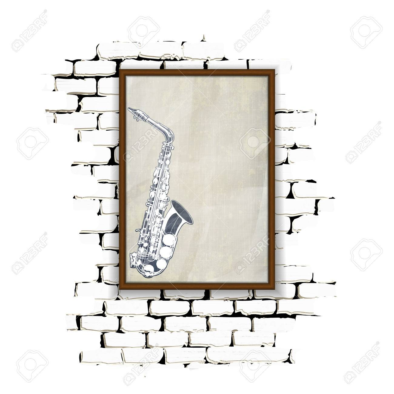 Musical Background Wooden Frame With Glass And Patterned Saxophone