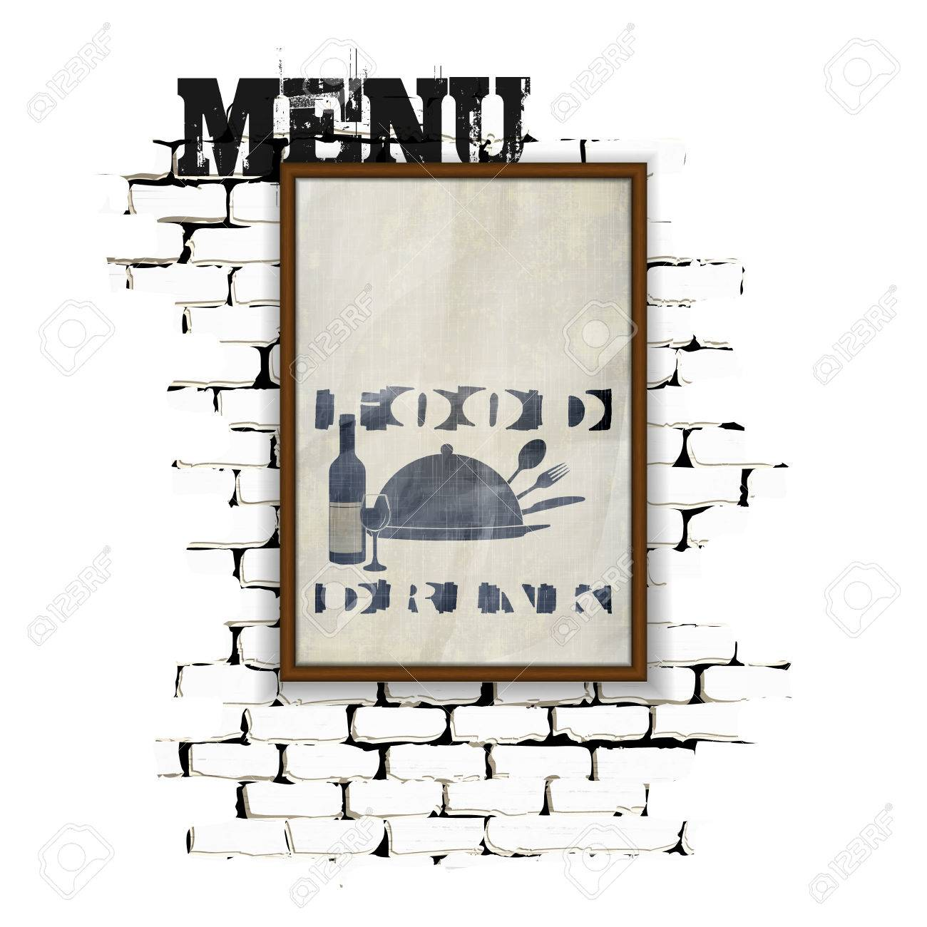 Template For Restaurant Menu In A Frame On A Brick Wall. Achieved ...