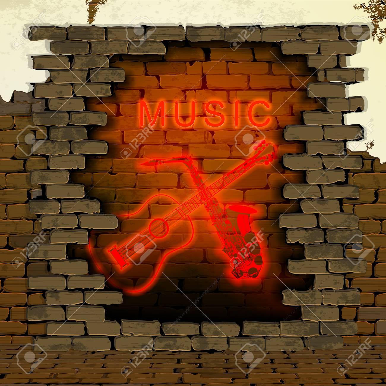 Die Inschrift Musik Mit Gitarre Und Saxophon Neon-Leuchtröhren In ...