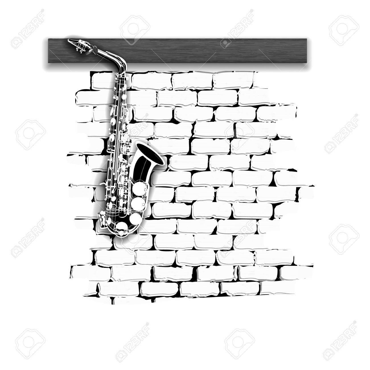 Vettoriale Strumenti Musicali Modello Sassofono Su Un Bianco E