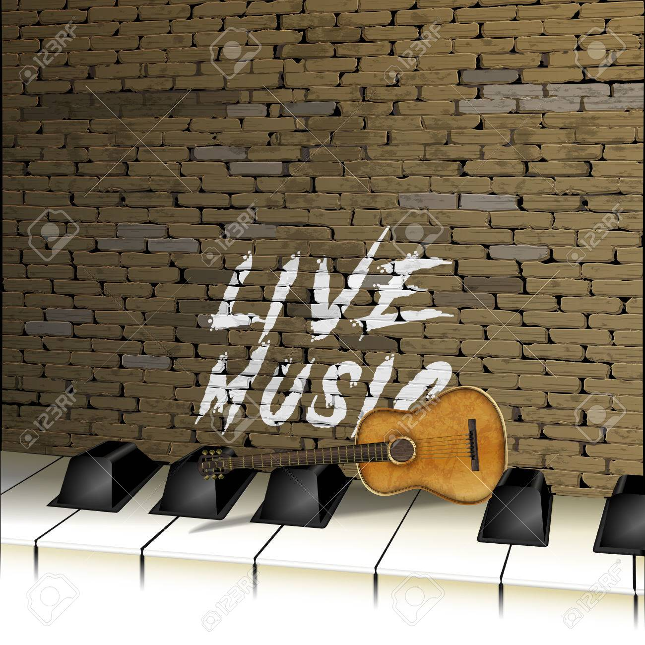 Musical Background Brick Wall Piano Keys And Guitar Graffiti Inscription Live Music Stock