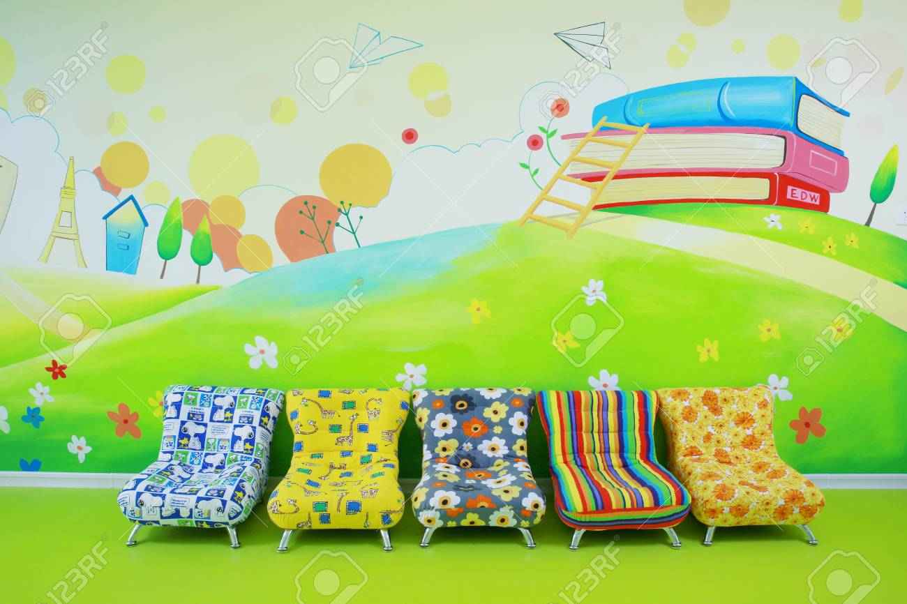 Kindergarten With Wall Painting And Sofa