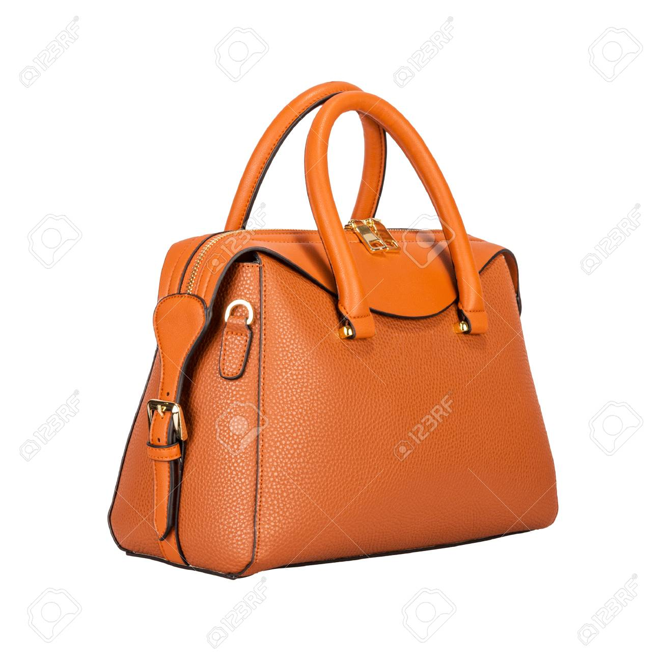 Fashionable light orange classic women s handbag of solid leather with  embossed stripes side view isolated on fa6ab16190fc8