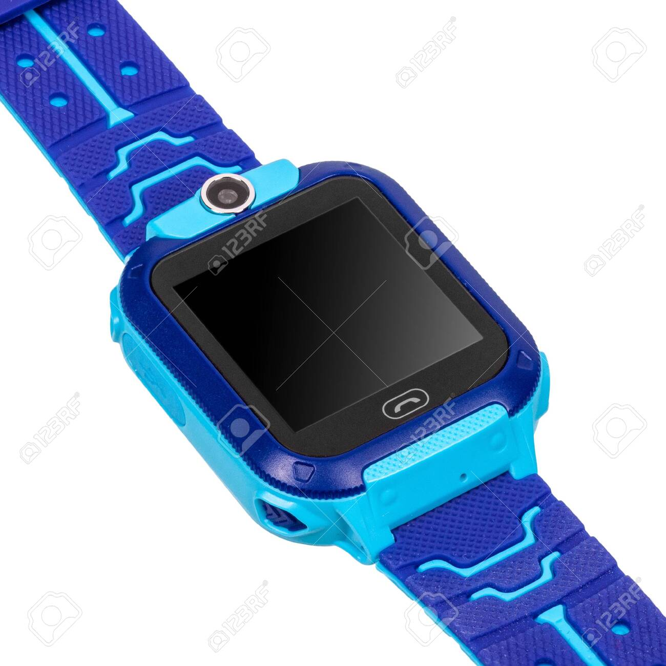 139979210 smart watch for children boy with a flat blank black screen for inscriptions a call button a video c