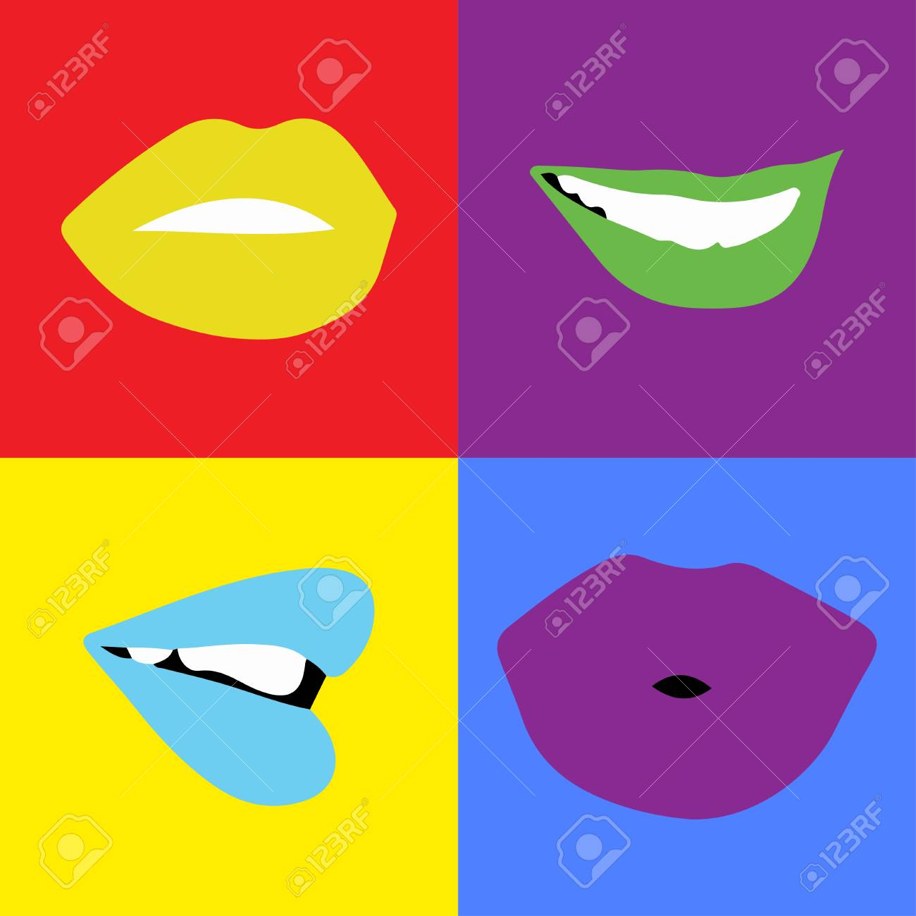 - Pop-art Lips Bright Color. Vector Illustration. Four Lips In