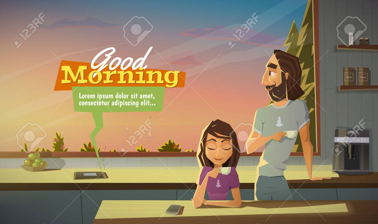 Good morning, drink coffee with family. - 50485863