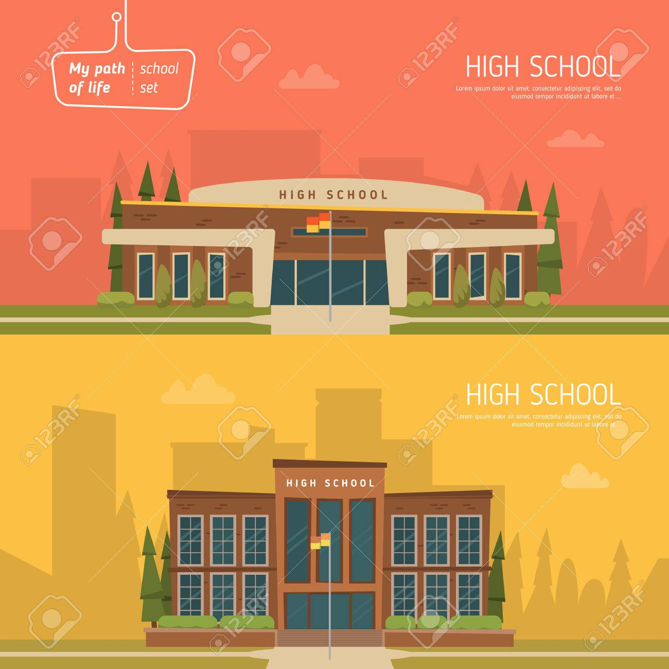 Two horizontal banner on education theme. Architecture design - 52197803