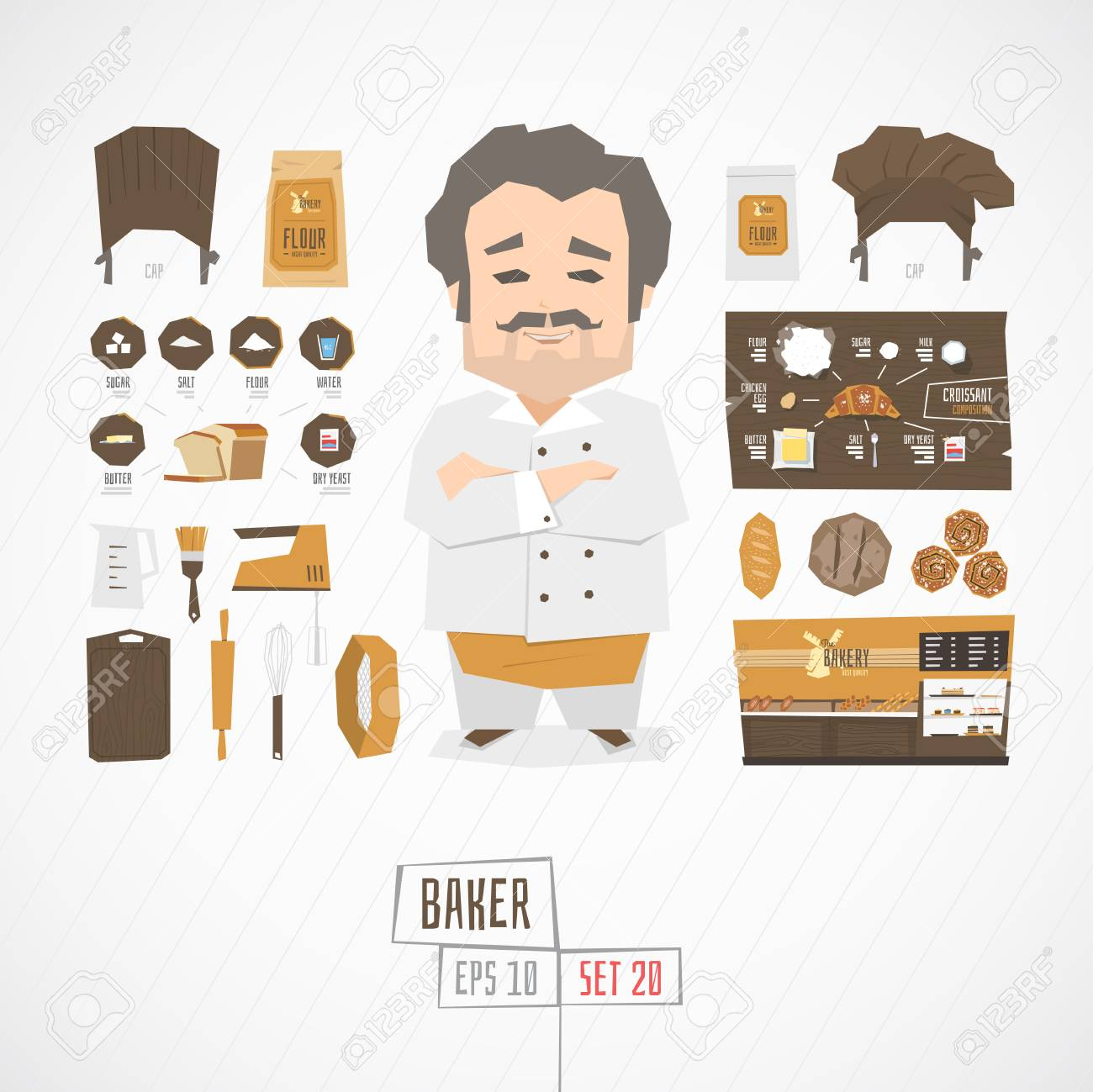 Flat funny charatcer baker set with icons and infographic - 52148100