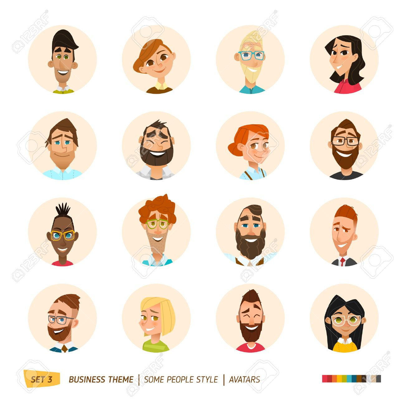 Cartoon business people avatars set. EPS 10 - 55159517