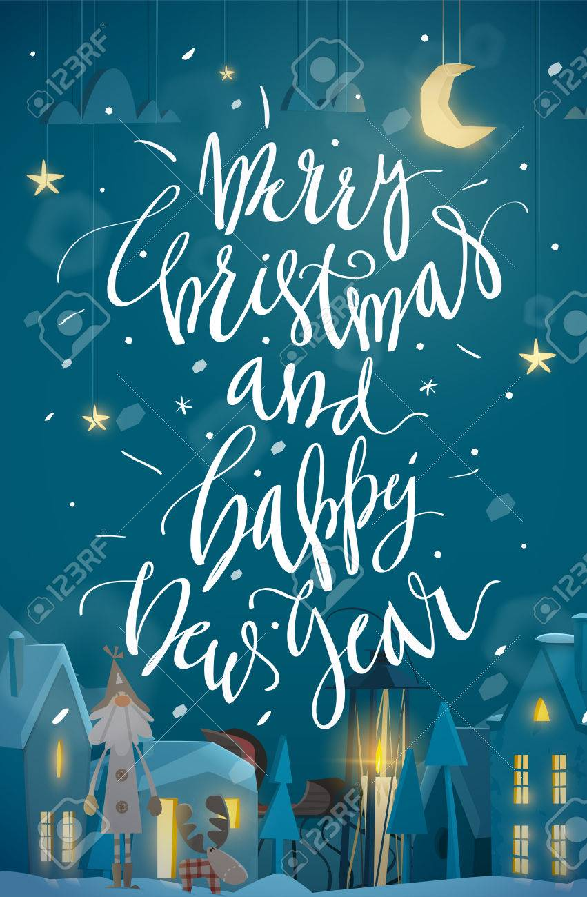 merry christmas and happy new year card night winter atmosphere vertical banner for your