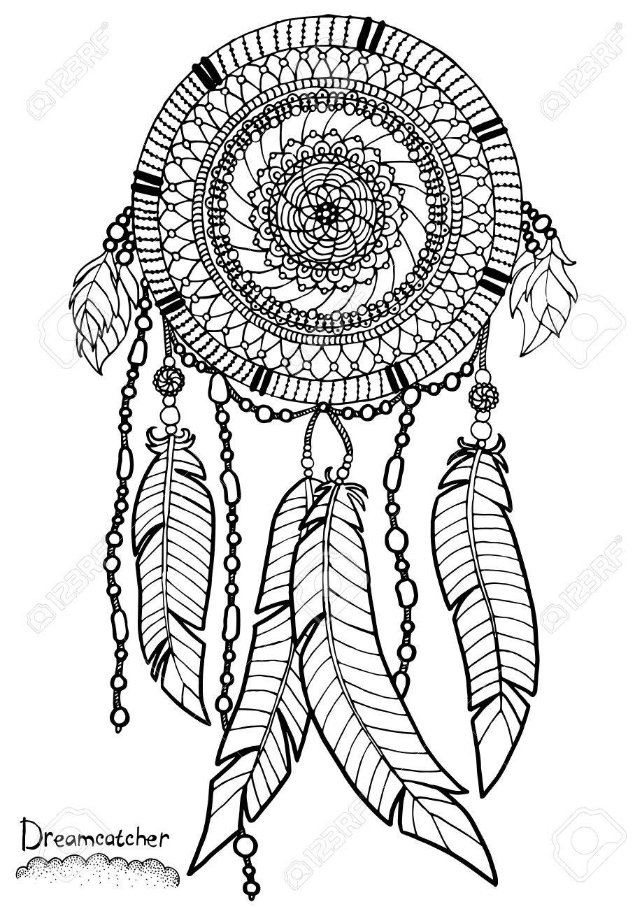 Dreamcatcher. A4 size. Pattern for adult coloring book. Hand..