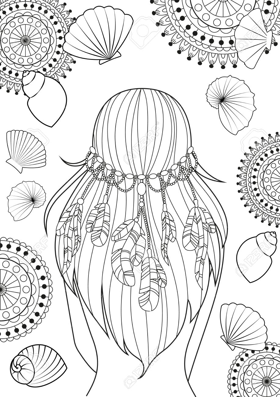 The Pattern For Coloring Book For Adults. Girl With Feathers ...