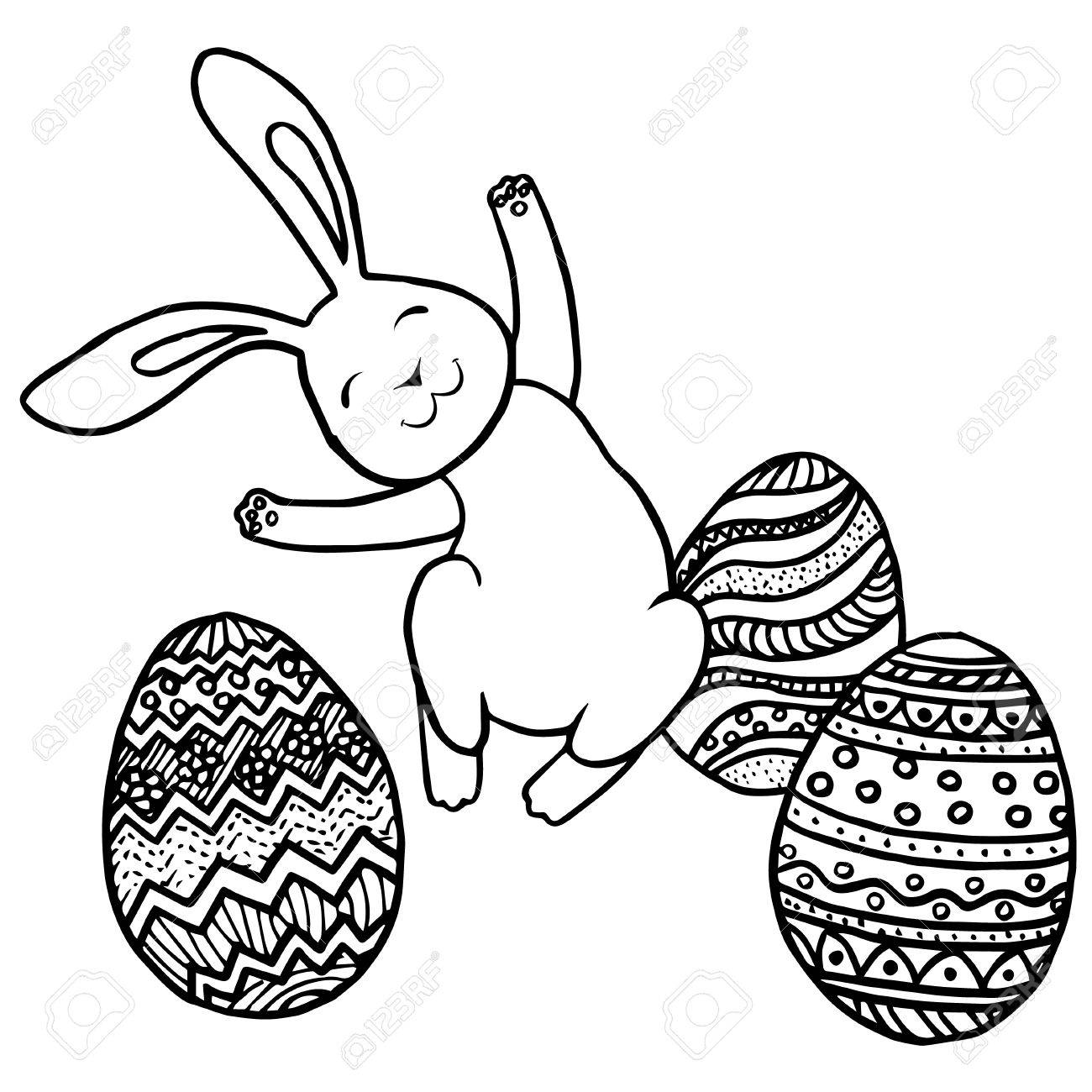 Jumping Easter Bunny And Eggs Pattern For Adult Coloring Book Hand Drawn Design With