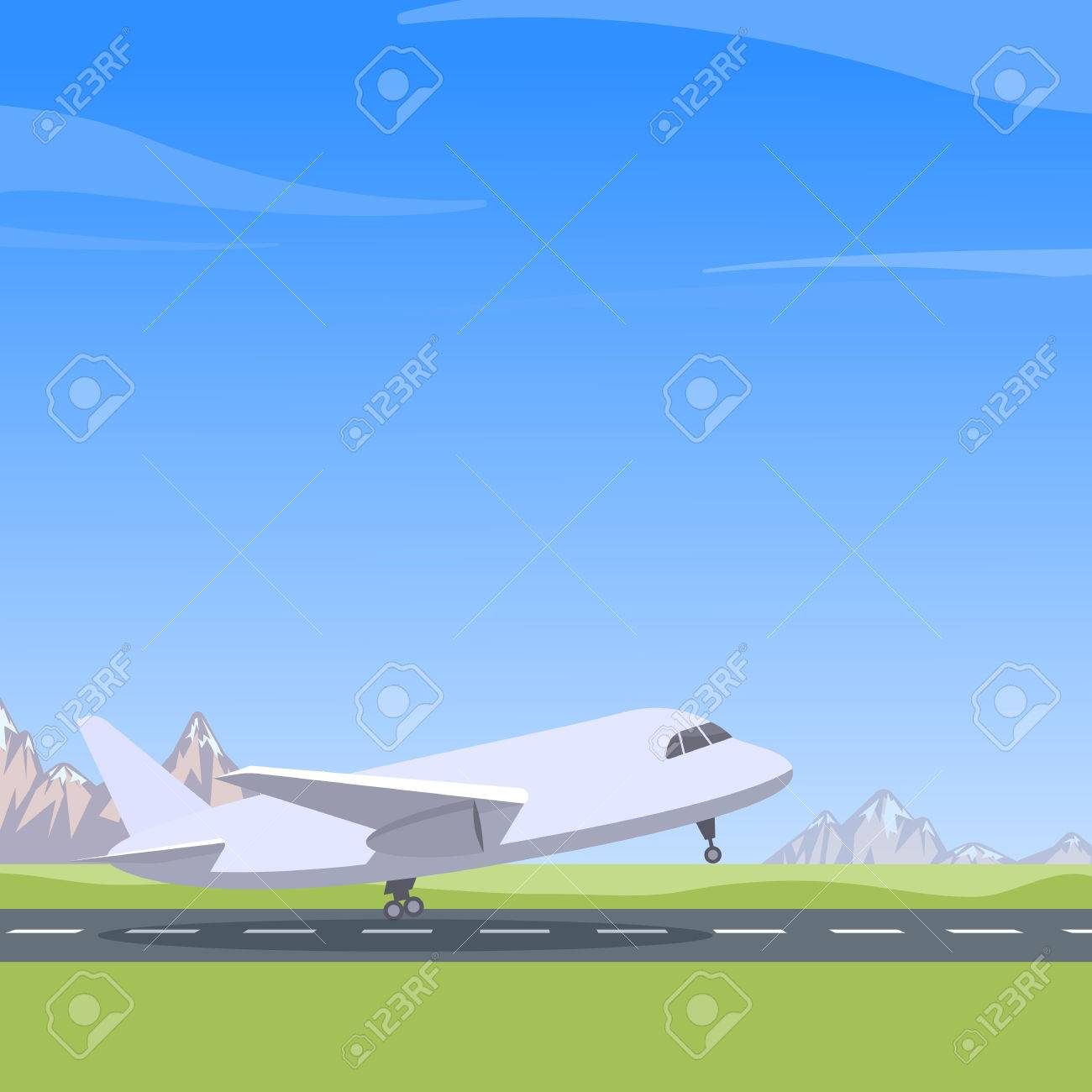 Plane takes off, mountain landscape, blue sky. Aircraft preparing for take-off - 58321467