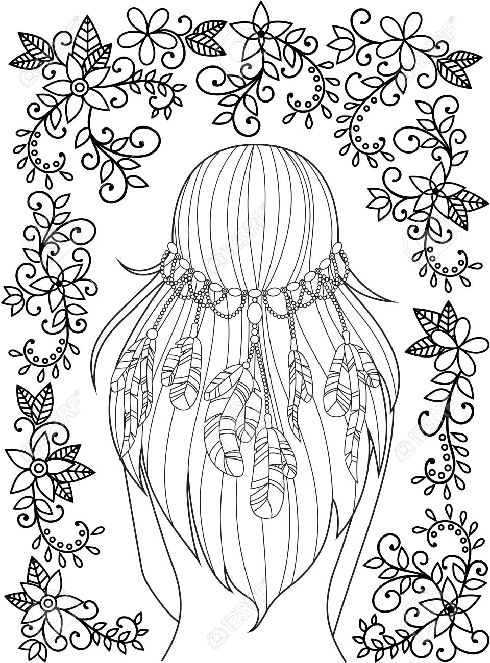 girl with feathers in her hair and floral pattern hippie style line art - Hippie Coloring Book