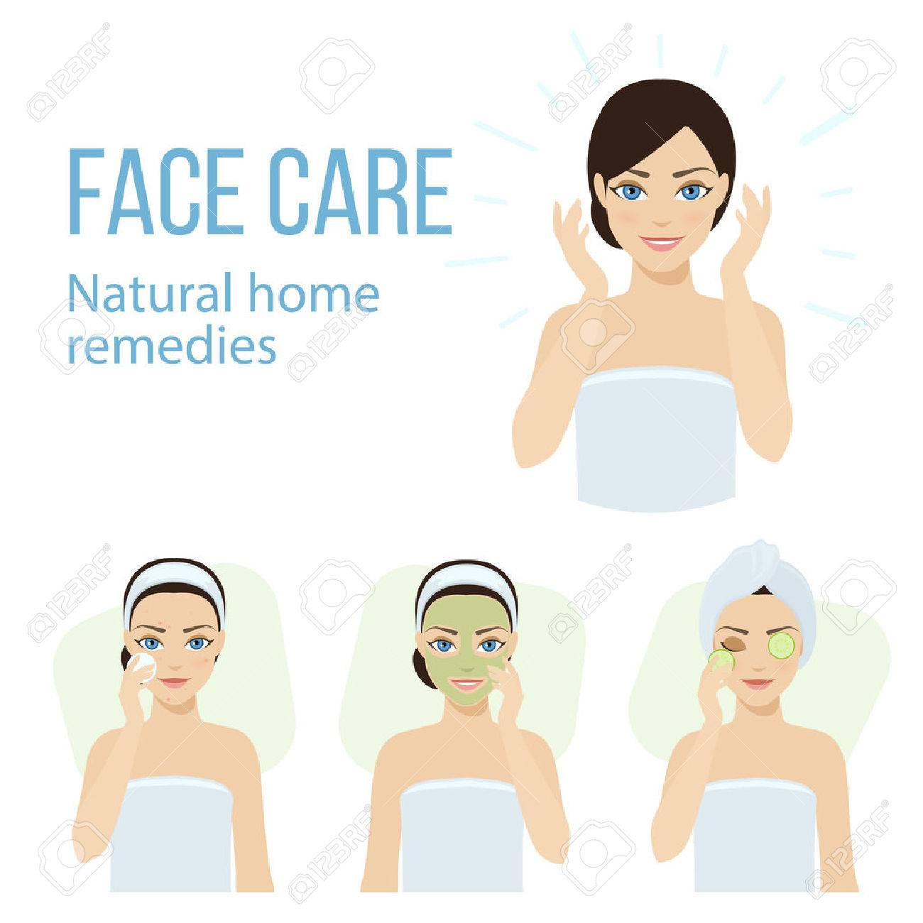 Set of face skin care with natural home remedies. - 60173182