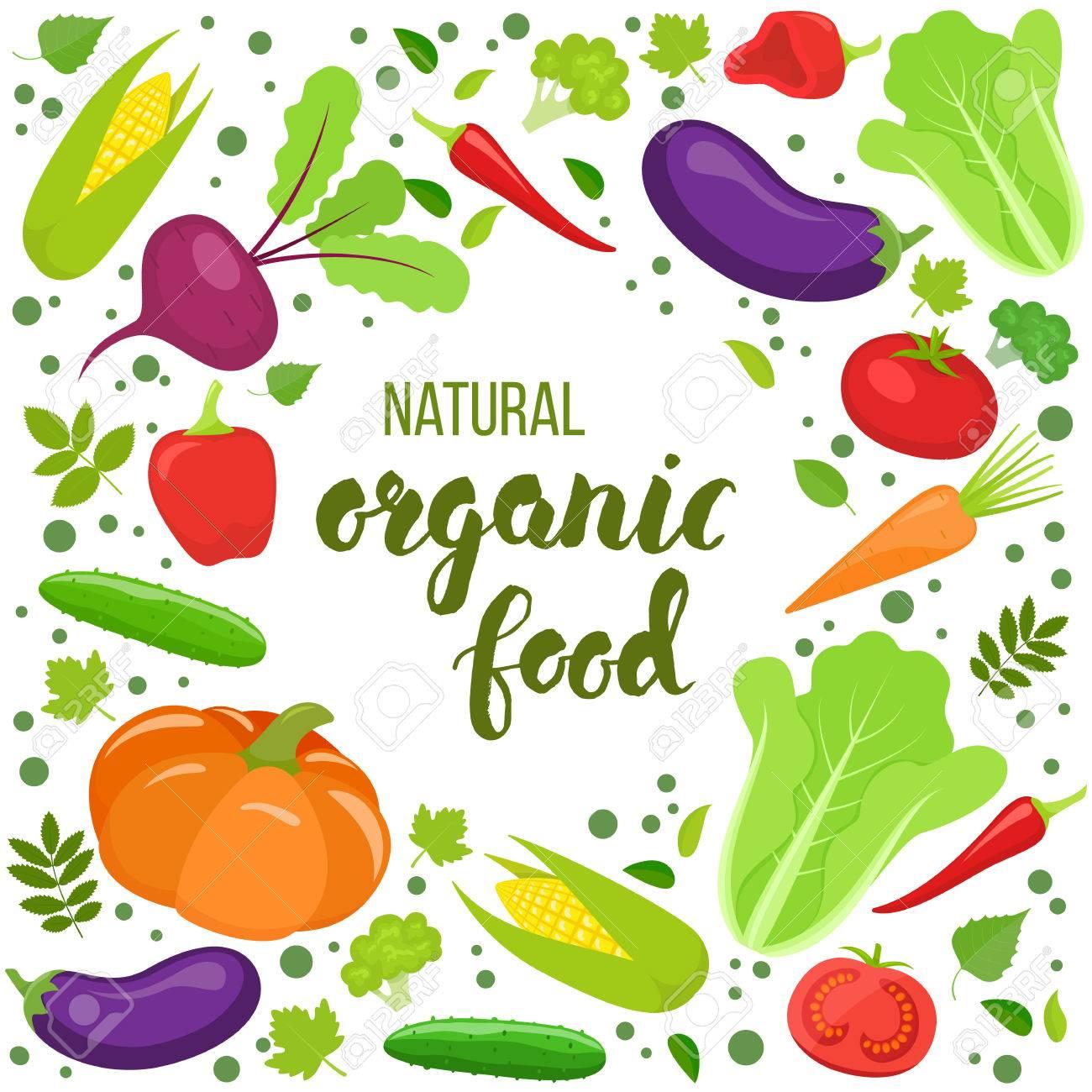 カラフルな野菜とラウンド フレームパッケージカードポスター