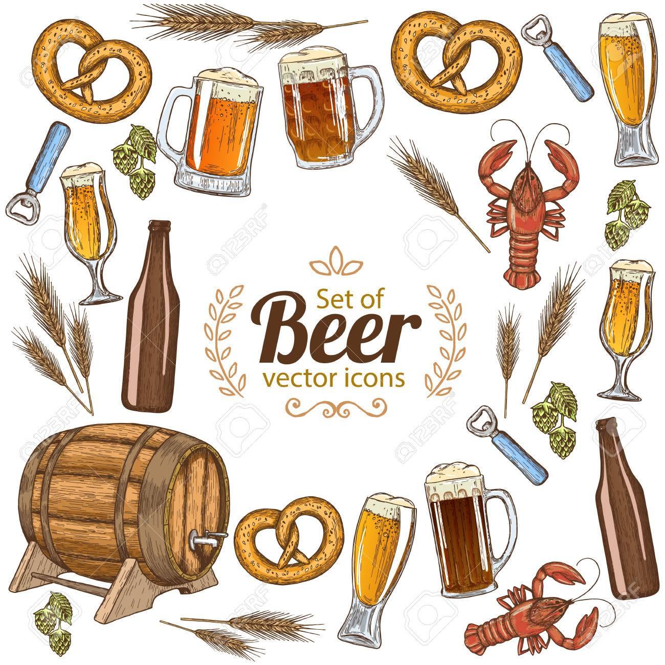 Marco Redondo Con Coloridos Iconos De La Cerveza. Plantilla Para El ...