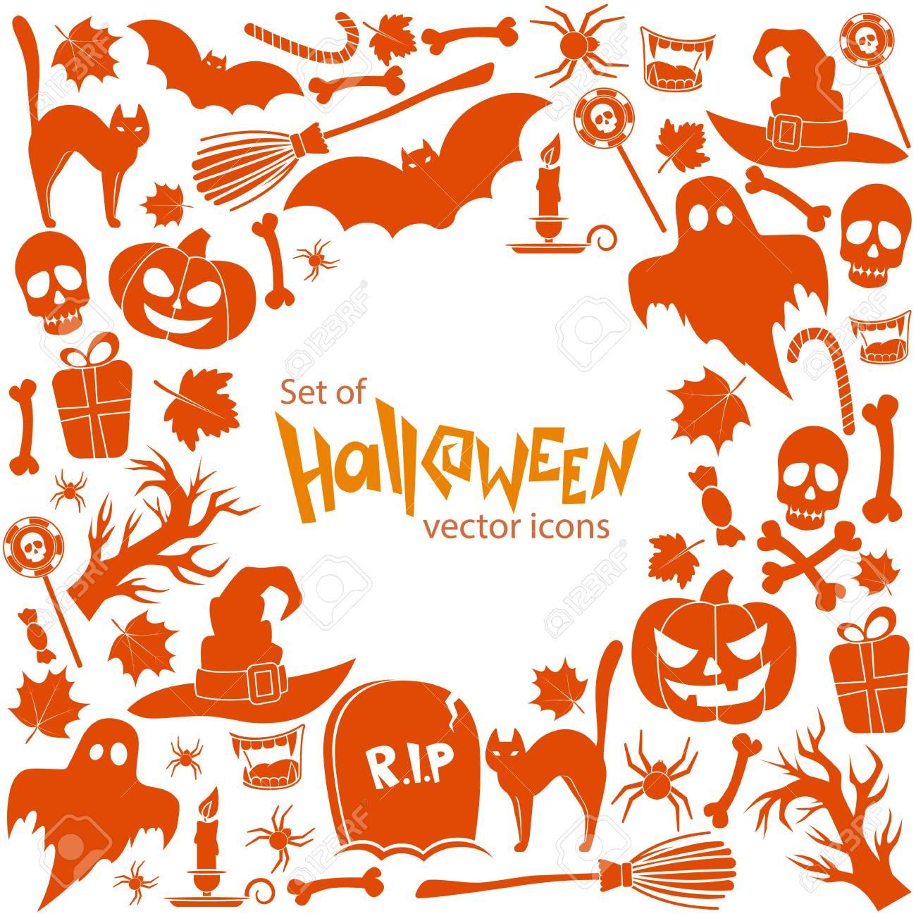 Hintergrund Der Halloween-Symbole Mit Runden Rahmen. Vorlage Für Die ...