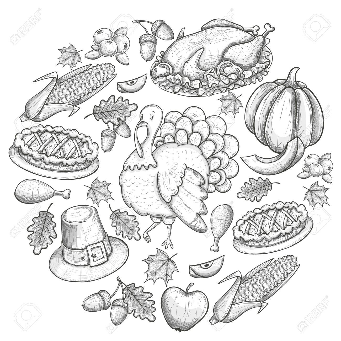Runde Vorlage Mit Thanksgiving-Icons. Skizze-Stil Erntedankfest ...