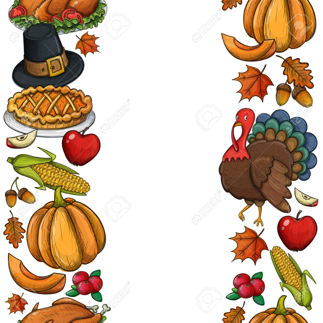 Vertical Seamless Borders With Colorful Thanksgiving Icons