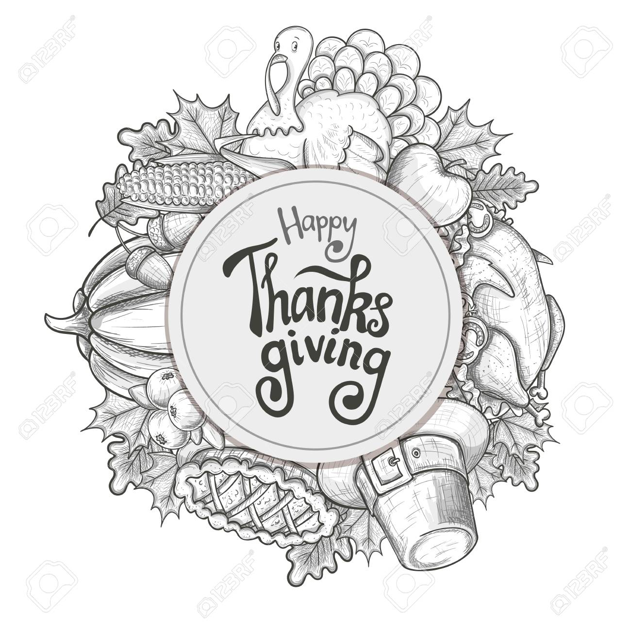 Circle Shape Template With Thanksgiving Icons. Sketch Style ...