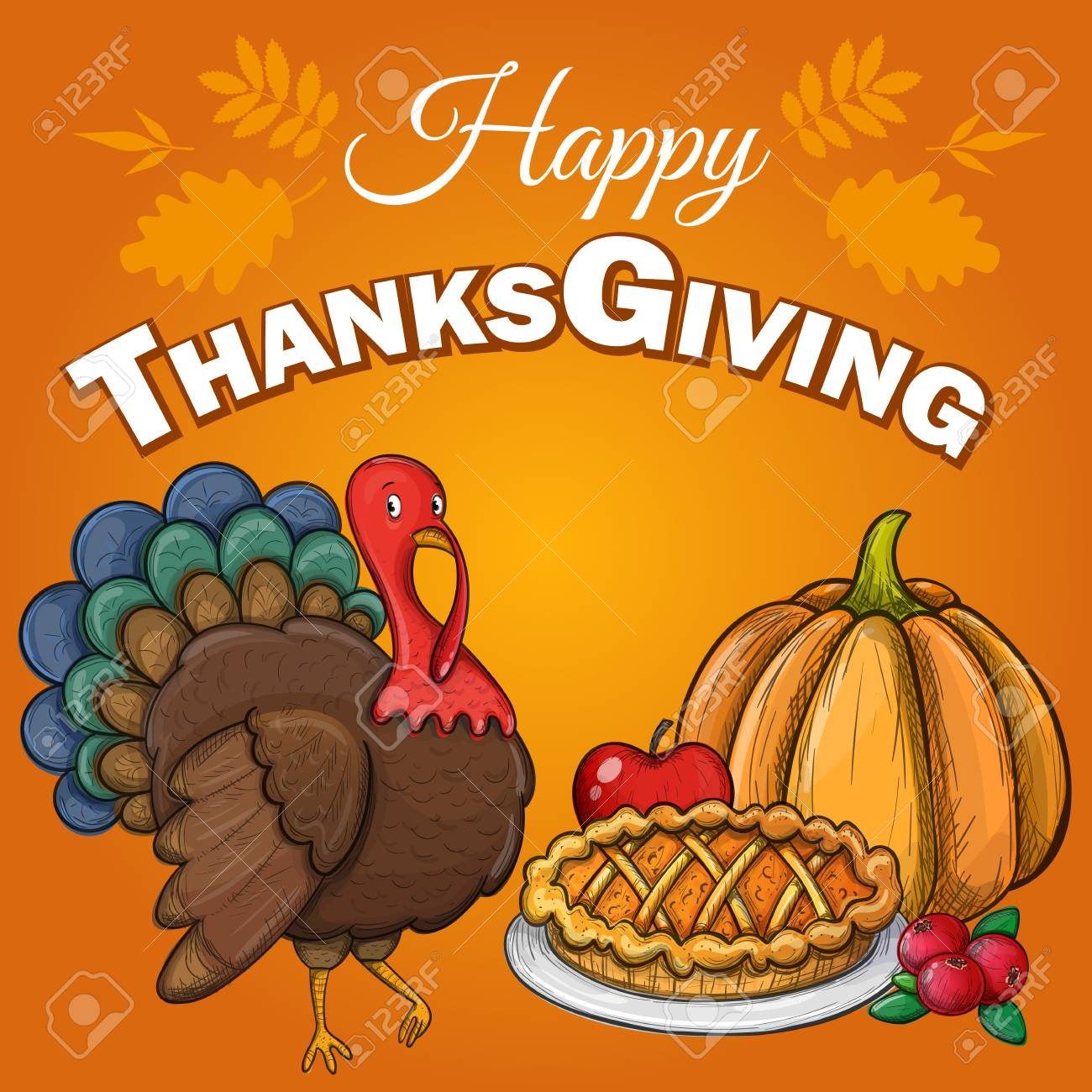 Thanksgiving Greeting Background With Thanksgiving Food And Turkey