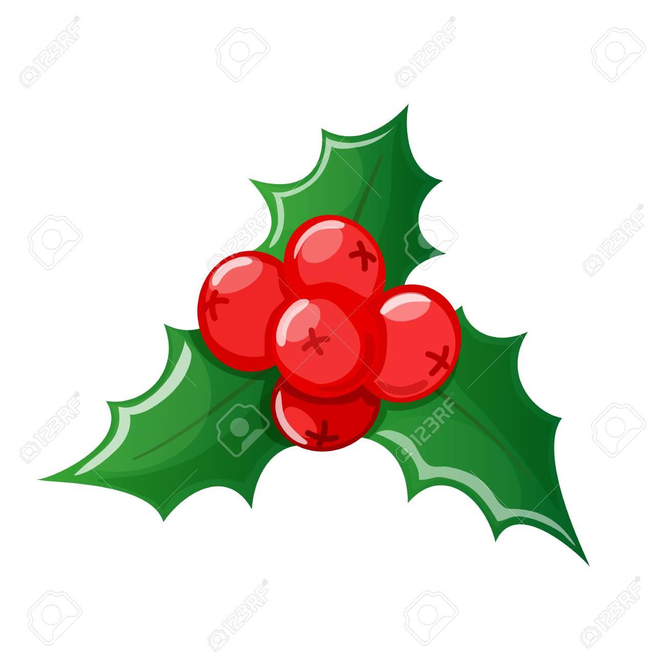 Christmas Holly Cartoon.Christmas Cartoon Colorful Holly On A White Background Vector