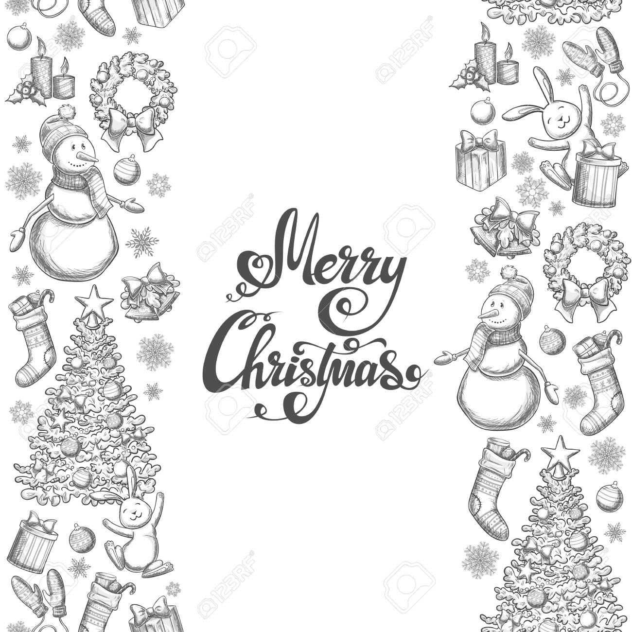 Vertikale Nahtlose Grenzen Mit Weihnachts-Icons. Monochrome Skizze ...
