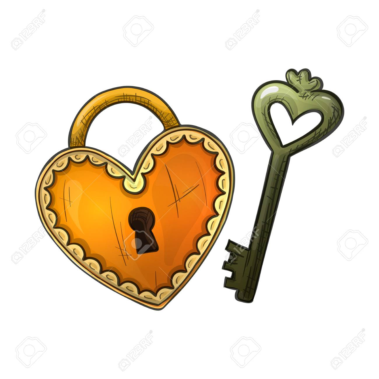Colorful Sketch Style Illustration Of Heart Shape Lock And Key