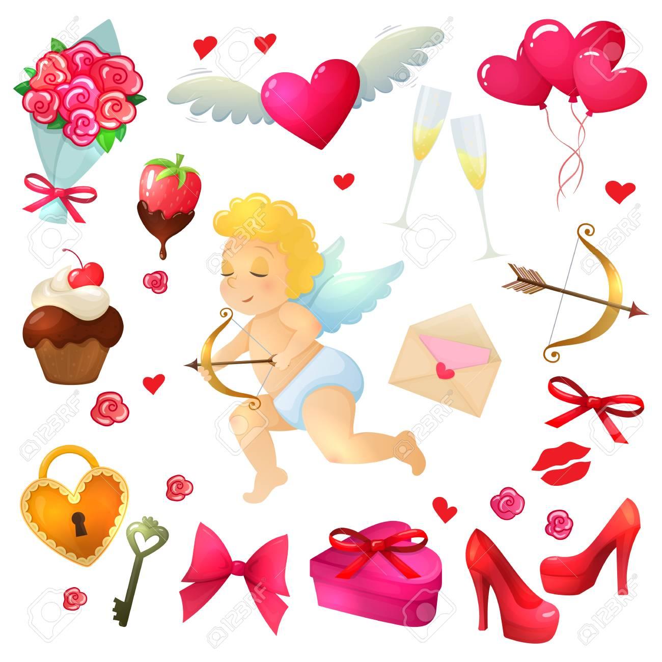 Set Day Symbole Valentinstag Bunte Comic Valentinstag Illustration