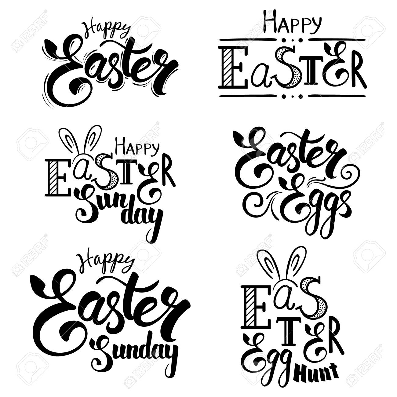 Set of hand written easter greeting phrases happy easter lettering set of hand written easter greeting phrases happy easter lettering for greeting cardsctor m4hsunfo