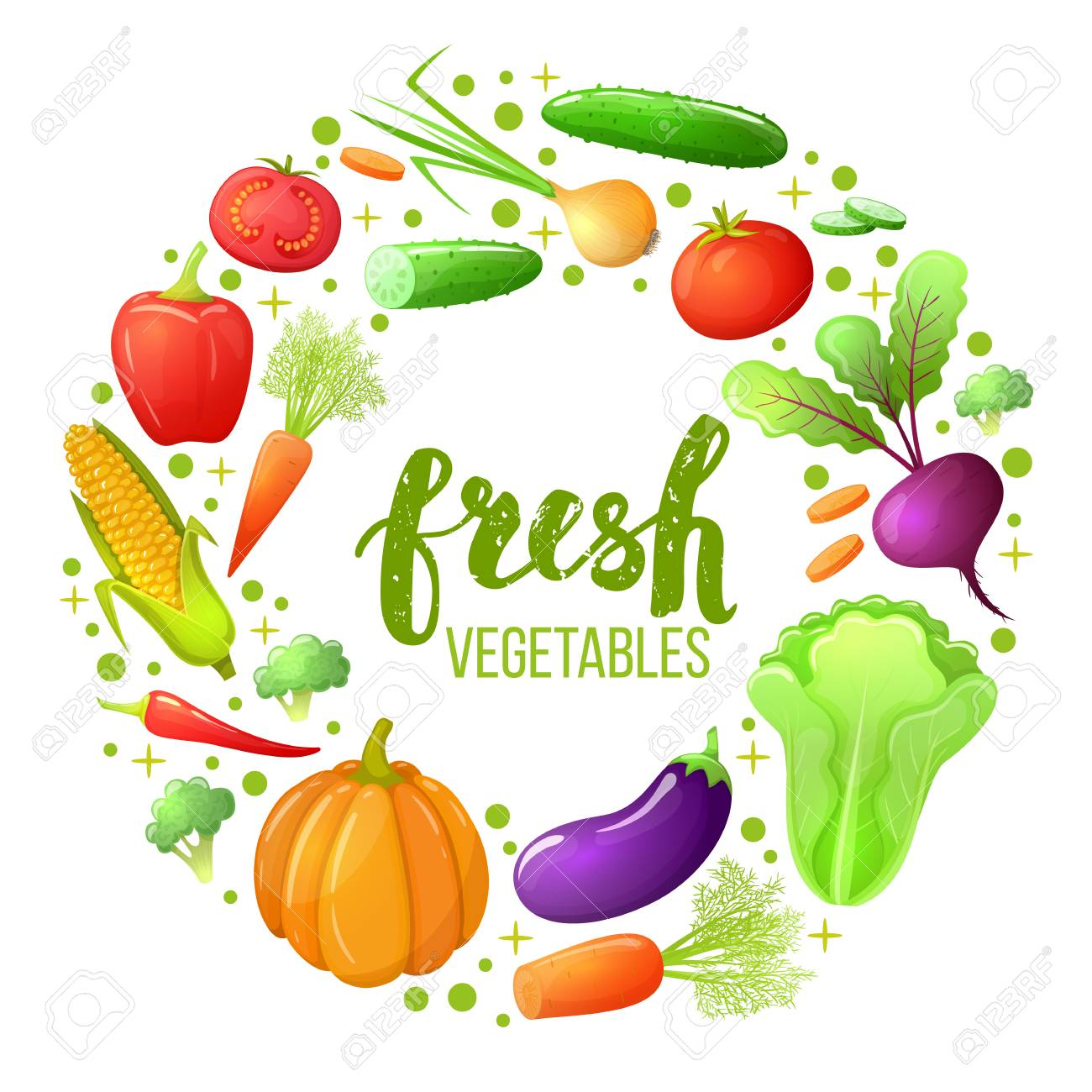 colorful sketch style set of vegetables icons eco organic fresh