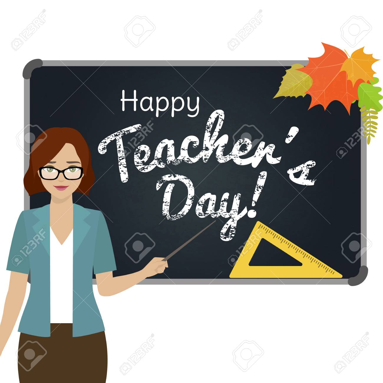 Happy teacher day greeting card teacher with pointer stand by happy teacher day greeting card teacher with pointer stand by the blackboard vector m4hsunfo