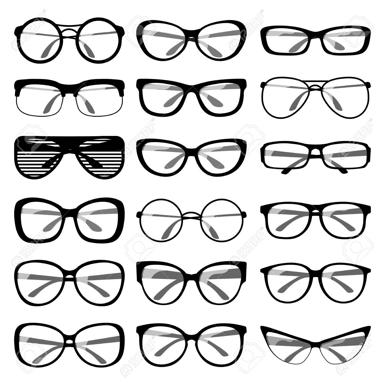 Set Of Different Shapes Of Spectacle Frames. Men And Women ...
