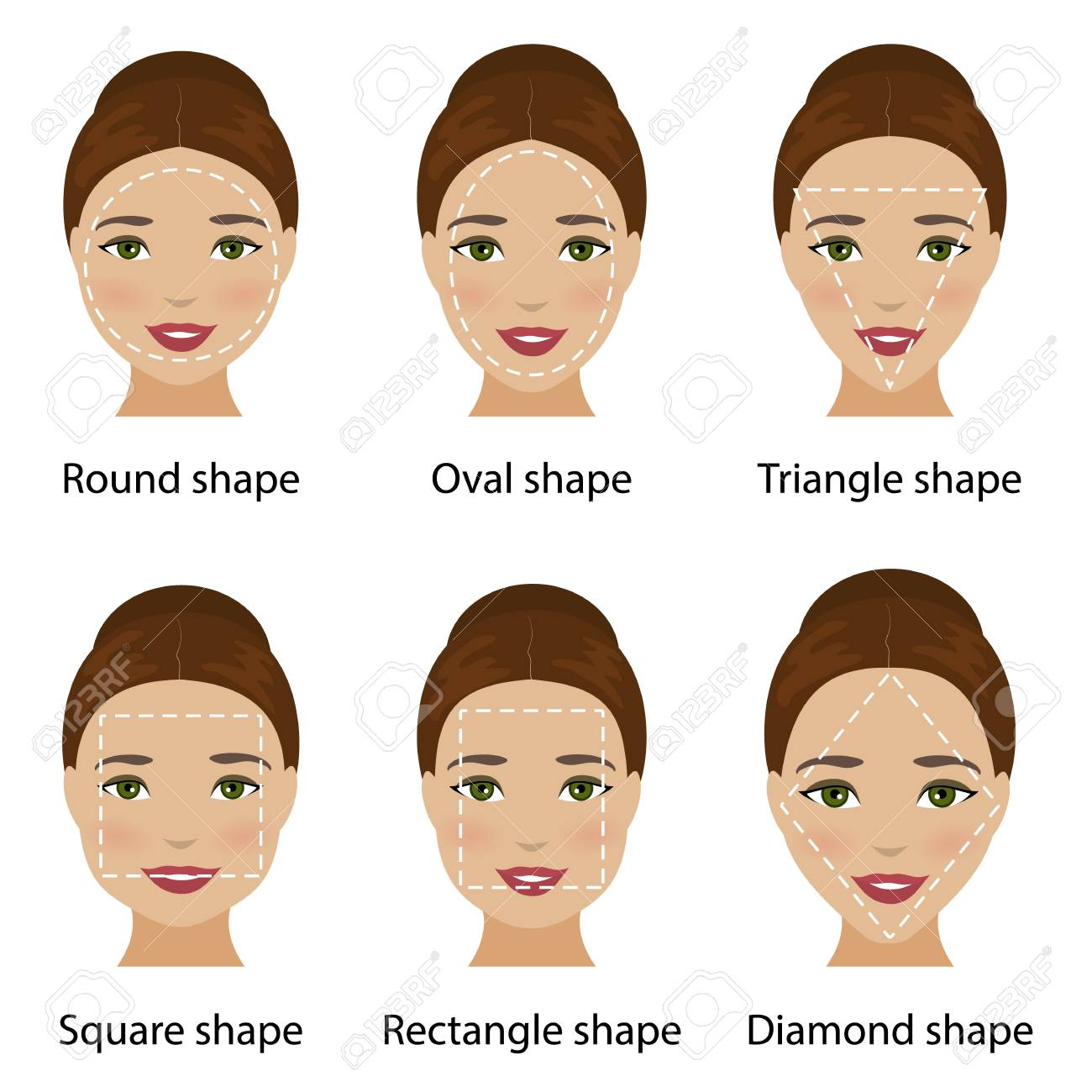 c10af96b6b Set Of Different Types Of Woman Face Shapes As Oval